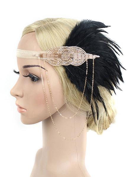 Milanoo Black Flapper Headband The Great Gatsby 1920s Fashion Costume Feather Headpieces Women Vintage Costume Accessories Halloween