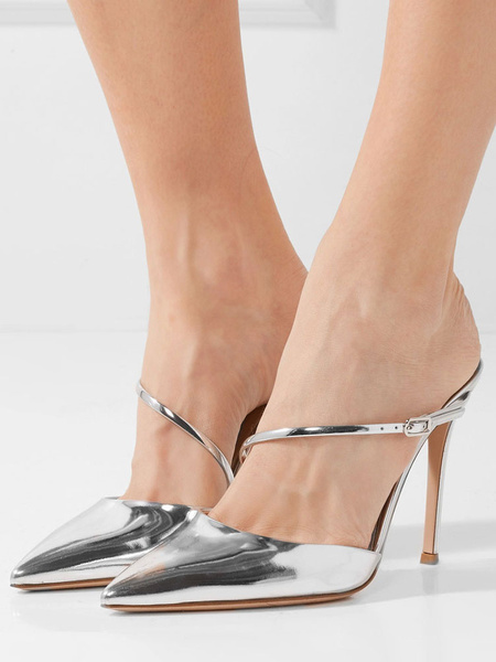 Milanoo Women Silver Mules High Heel Prom Shoes Pointed Toe Backless Party Shoes