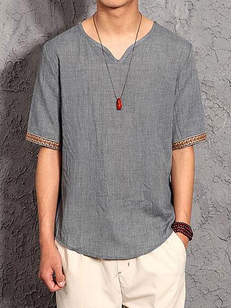 Milanoo Men Casual T Shirt Plus Size Cotton Linen Top V Neck Short Sleeve T Shirt