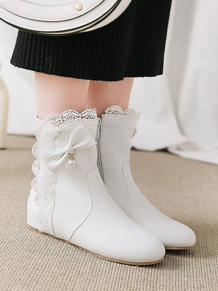 Milanoo Sweet Lolita Boots Bows Lace Round Toe Lolita Footwear Booties