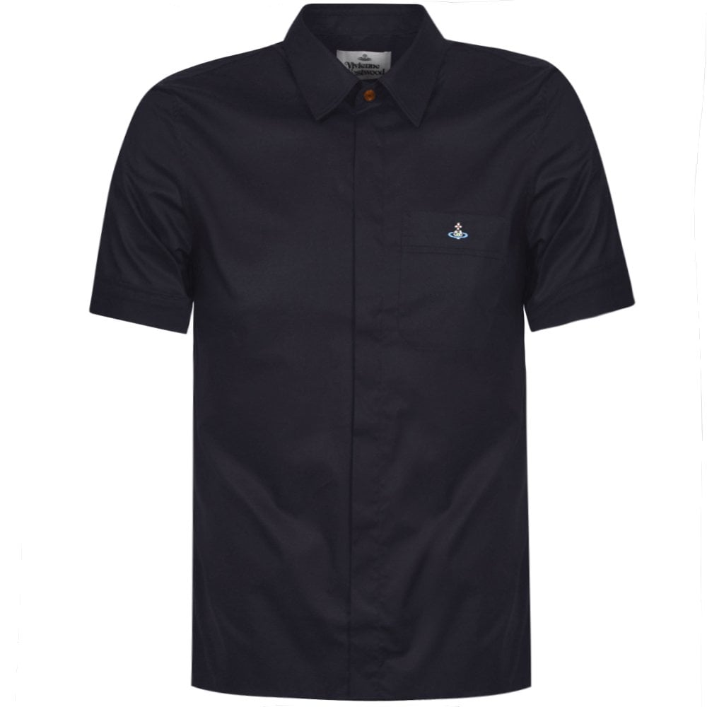 Vivienne Westwood Orb Logo Short Sleeve Shirt Colour: NAVY, Size: EXTR