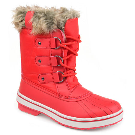 Journee Collection Womens North Water Resistant Block Heel Lace-up Snow Boots, 8 1/2 Medium, Red