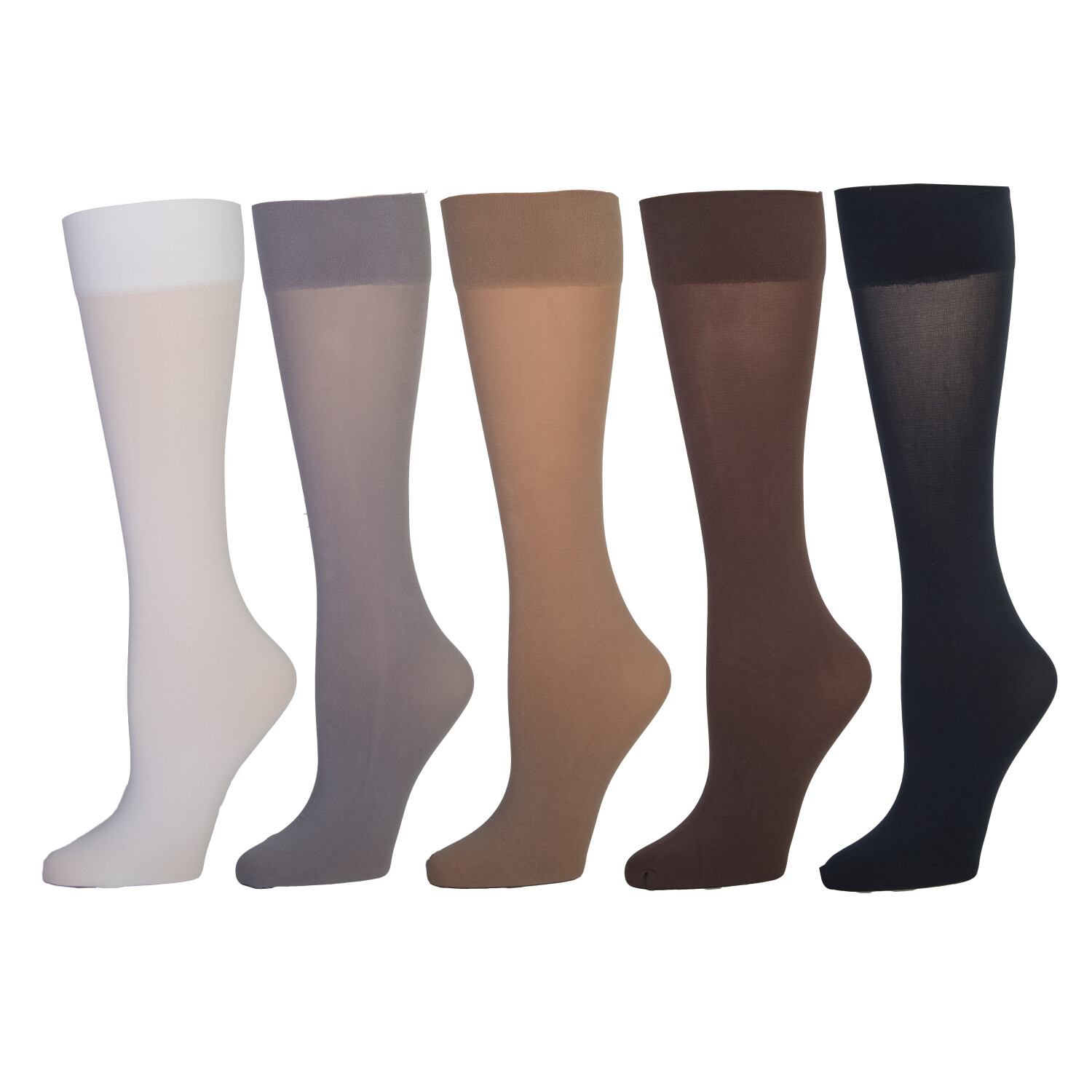 Celeste Stein Semi-Sheer Microfiber Knee Highs 5 Pairs for Women - One Size - One Size - Multi
