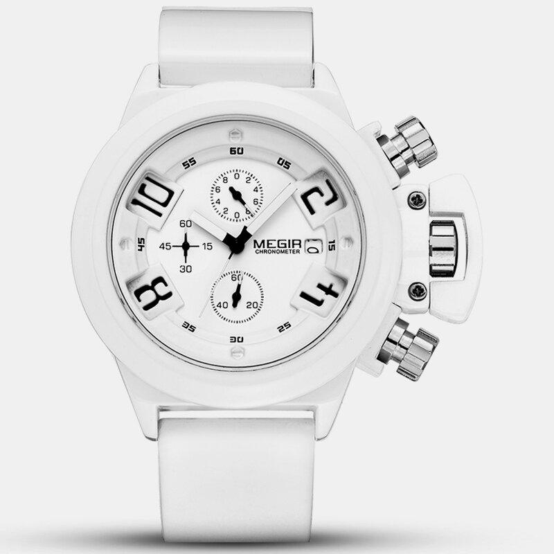 Trendy Sports Men Watch Leather Belt Button Design Unique Date Calendar Quartz Watch