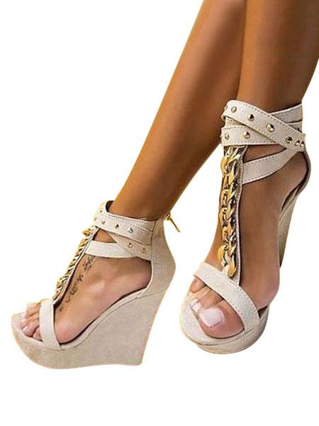 Milanoo Black Wedge Sandals Women Shoes Platform Open Toe Metal Detail T Type Sexy Shoes