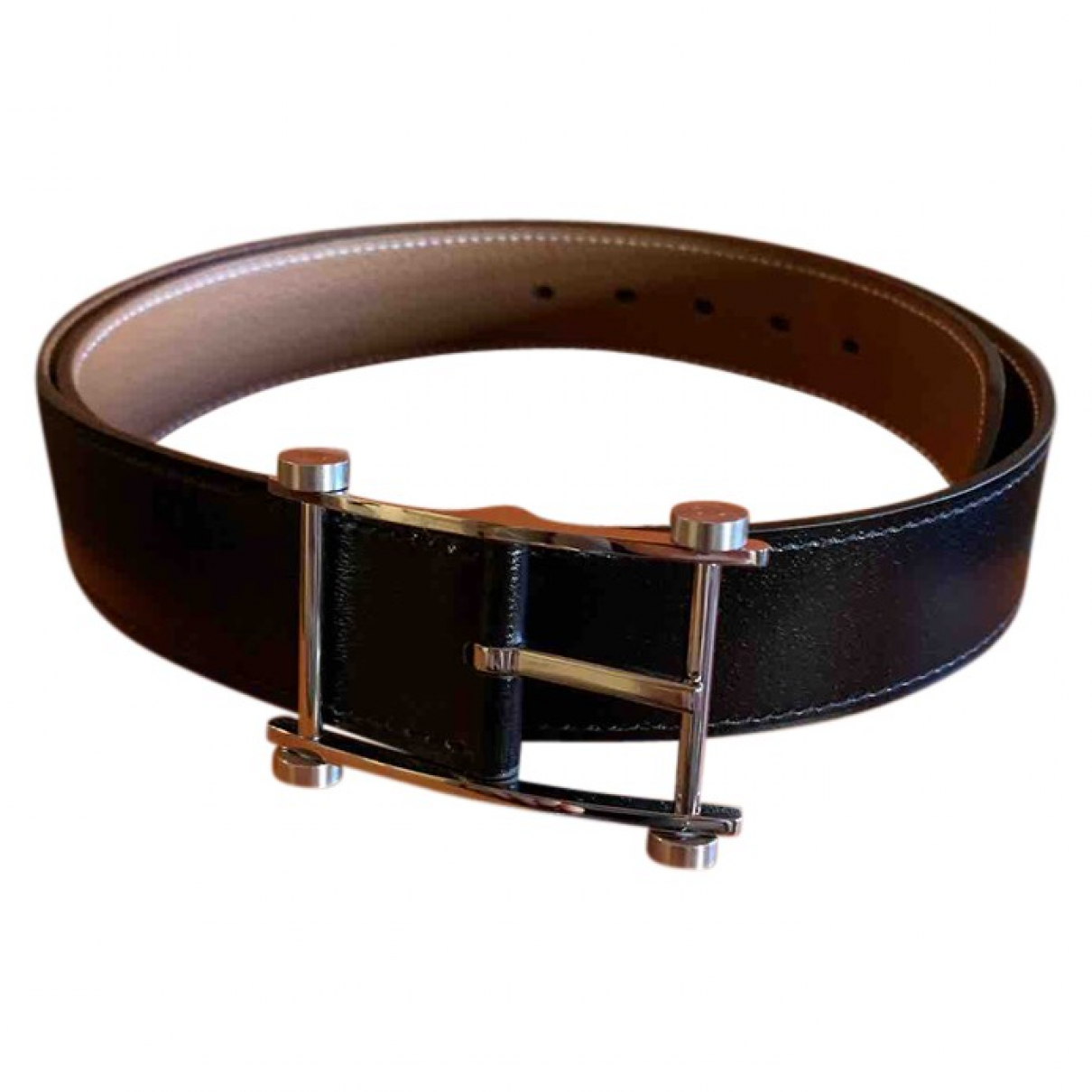 Hermès \N Black Leather belt for Men 85 cm