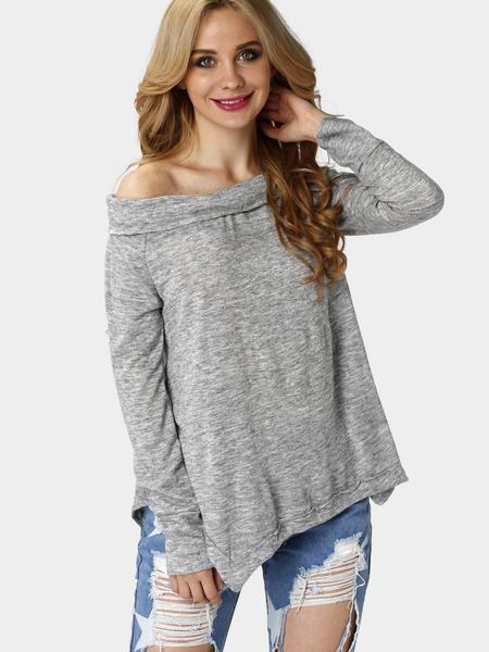 Yoins Grey Off Shoulder Irregular Hem T-shirt