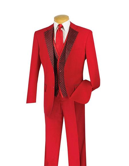 Mens Single Breasted 2Button Classic Fit 3Piece Vested Red FashionSuit