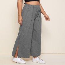 Plus Split Side Wide Leg Pants