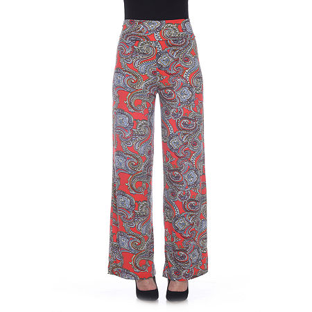 White Mark Womens Mid Rise Wide Leg Palazzo Pant, X-large , Red