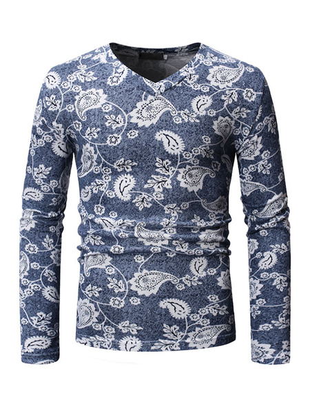 Milanoo Men Grey T Shirt Floral Print V Neck Slim Fit Long Sleeve Casual T Shirt