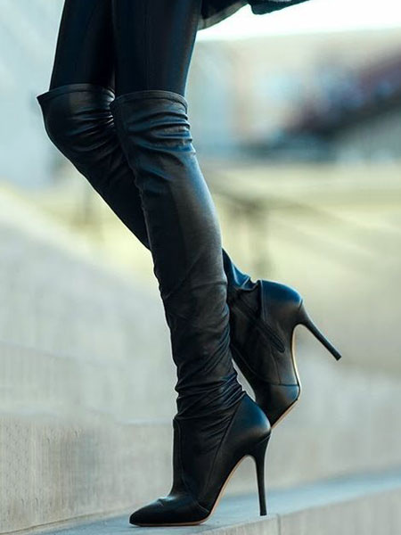Milanoo Black Over The Knee Boots Womens Nubuck Solid Color Pointed Toe Stiletto Heel Boots