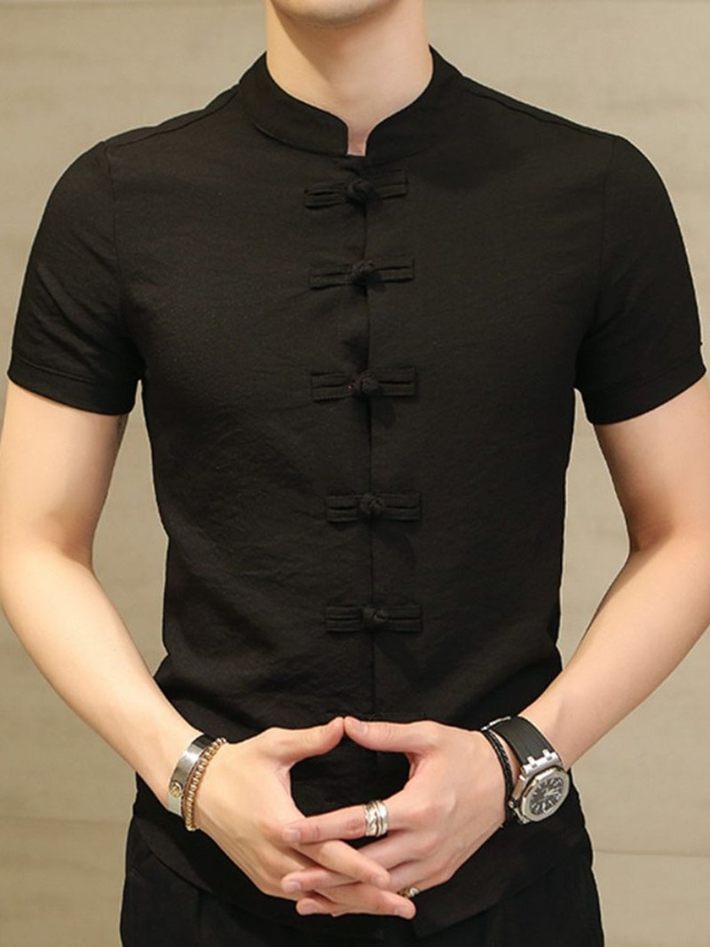 Ericdress Plain Stand Collar Vintage Slim Single-Breasted Shirt