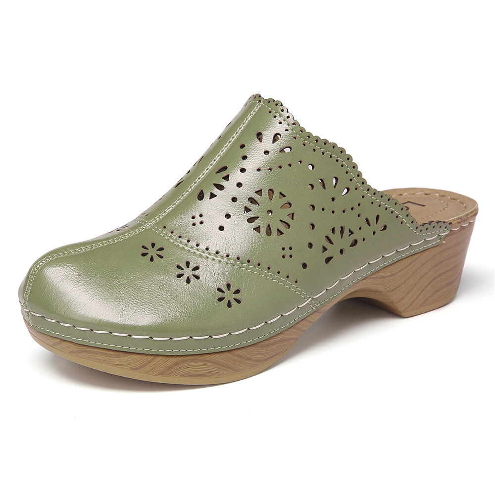 LOSTISY Closed Toe Hollow Out Stitching Backless Slip On Casual Clogs