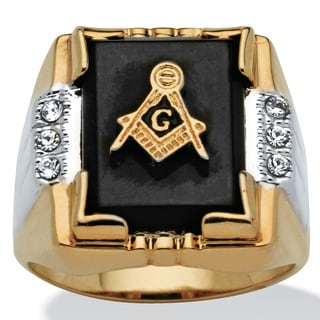 Men's Genuine Onyx and Crystal Two-Tone Masonic Ring 14k Gold-Plated Sizes 8-16 (8)