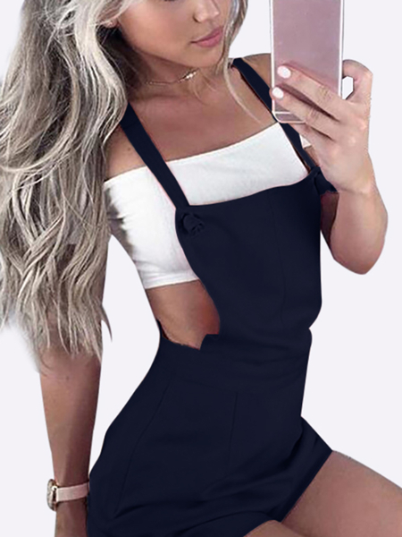 Yoins Casual Tie-Strap Playsuits in Navy