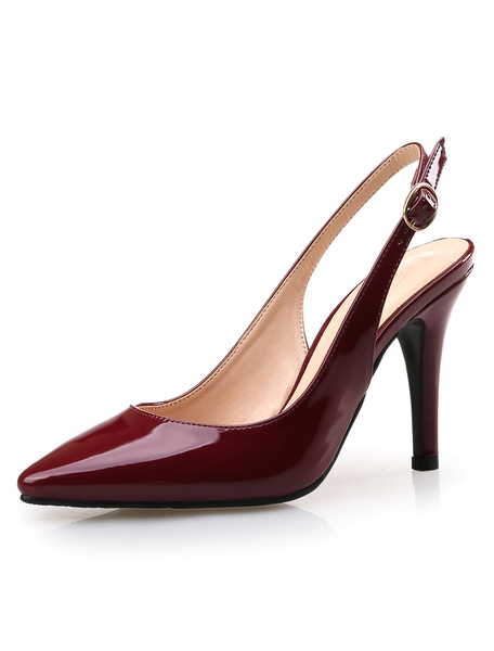 Milanoo Pointed Toe Heels Women's Burgundy Slingback Stiletto High Heel Pumps
