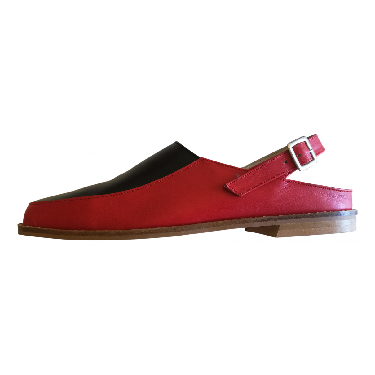 Non Signé / Unsigned \N Red Leather Mules & Clogs for Women 37 EU