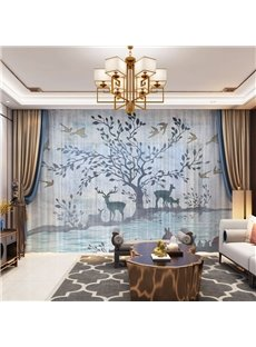 3D Nordic Style Elks and Tree Printed Decorative 2 Panels Custom Sheer
