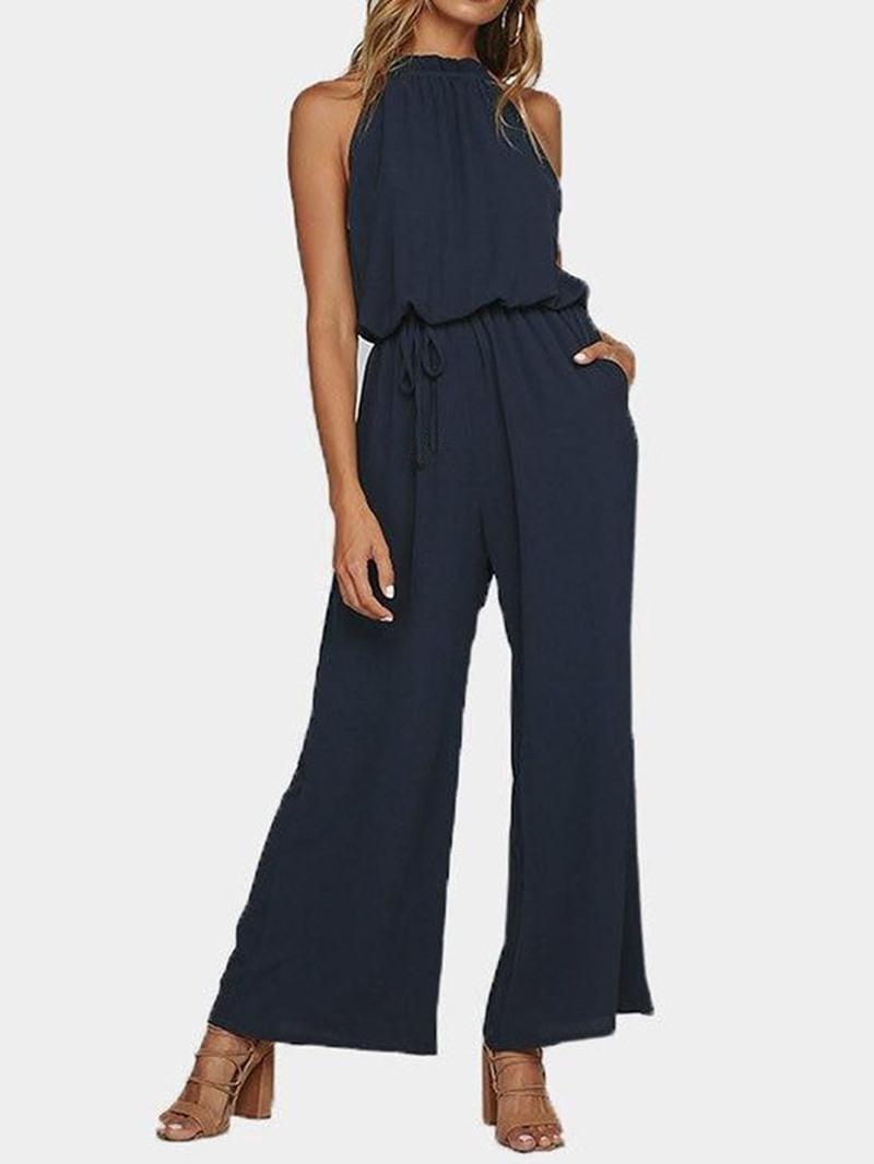 Ericdress Lace-Up Fashion Plain High Waist Loose Jumpsuit