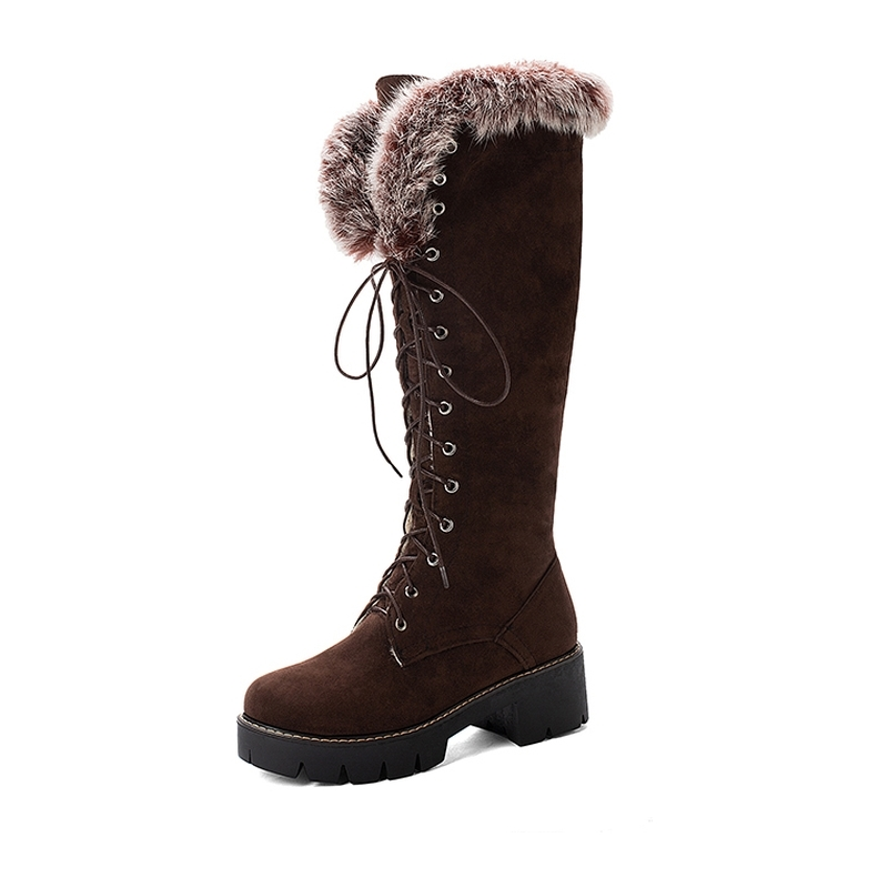 Ericdress Faux Fur Round Toe Side Zipper Women's Snow Boots