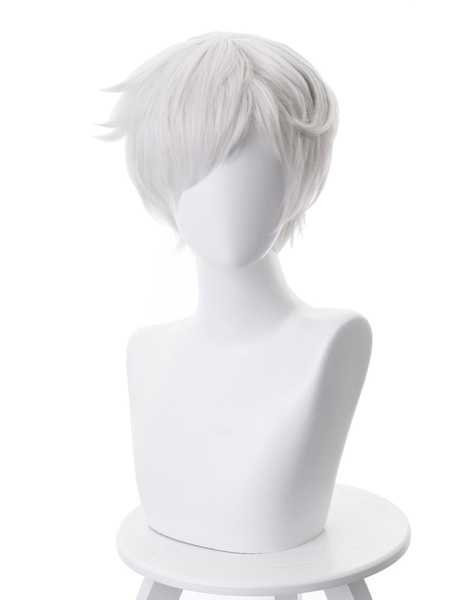 Milanoo White Anime Wig Japanese Anime The Promised Neverland Norman Short Cosplay Wigs Halloween