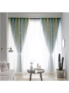 Blue and Green Color Block Cloth and White Voile Sewing Together Fresh Style Curtains