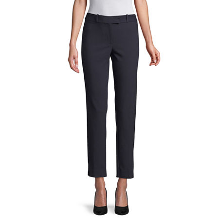 Liz Claiborne Womens Mid Rise Regular Fit Ankle Pant, 12 , Blue