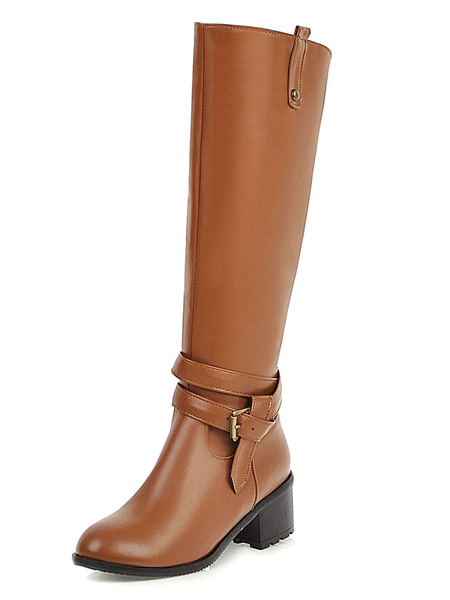 Milanoo Knee High Boots Womens PU Buckled Round Toe Chunky Heel Daily Casual Boots