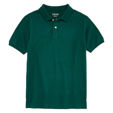 IZOD Pique Little & Big Boys Short Sleeve Stretch Polo Shirt, Large , Green