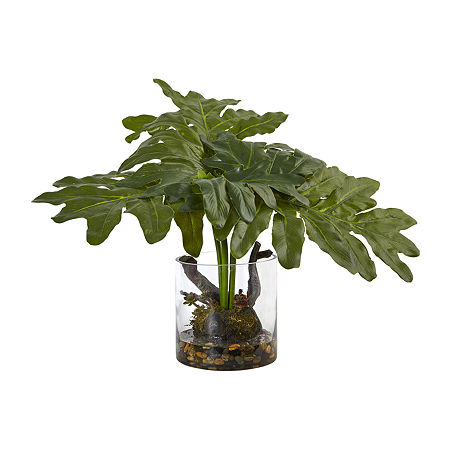Nearly Natural Philodendron Arrangement With Vase, One Size , Green