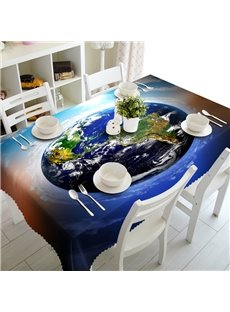 Amazing Earth Prints Design Washable Dining Room Decoration 3D Table Cloth