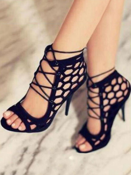 Milanoo Black Gladiator Sandals Women Open Toe Cut Out Lace Up High Heel Sandals