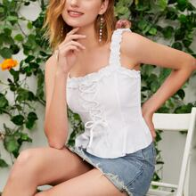 Solid Lace Up Front Frill Trim Peplum Cami Top