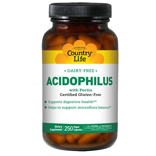 Acidophilus with Pectin Vegetarian 250 Caps by Country Life