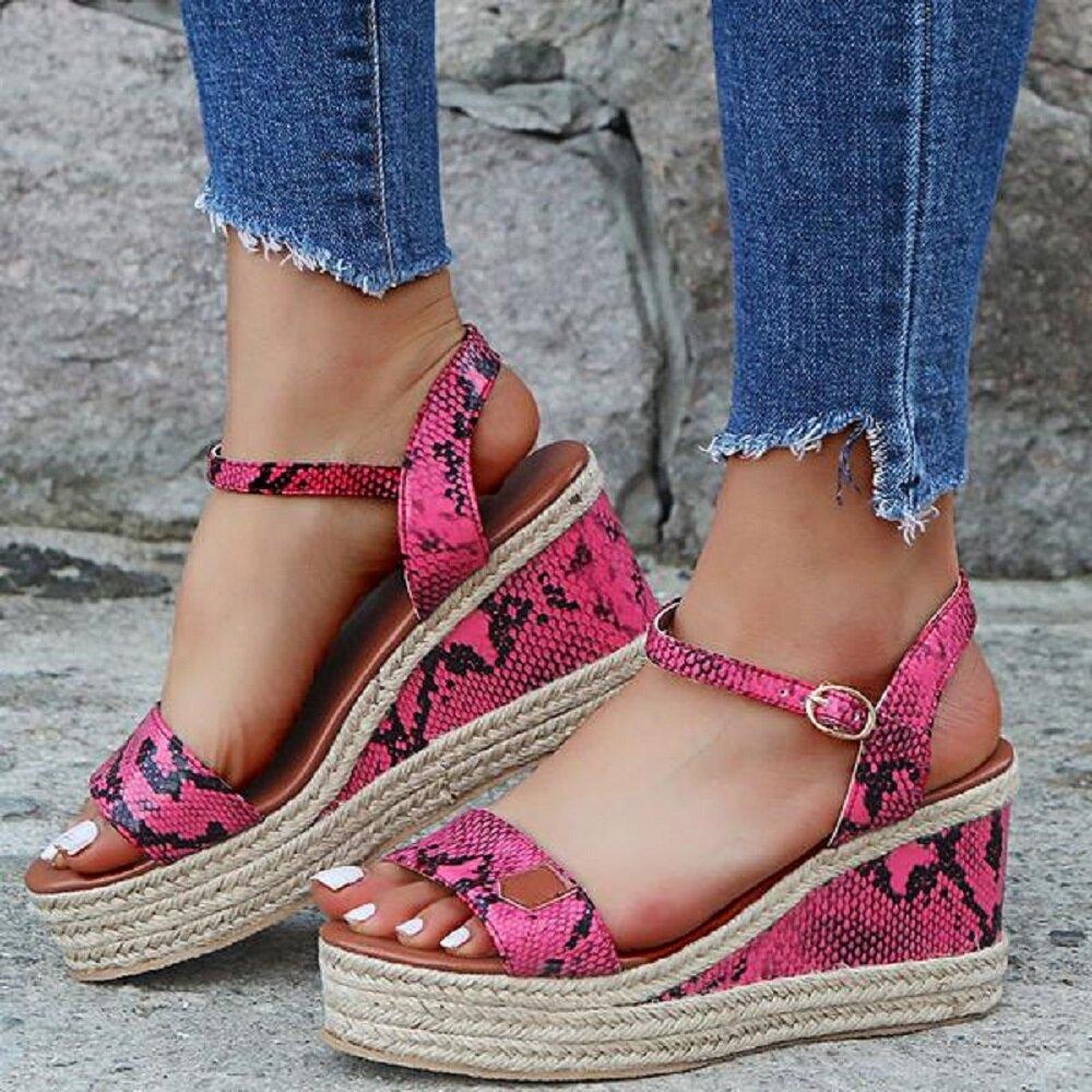 Women Pattern Printing Upper Wearable Buckle Strap Wedges Sandals