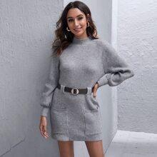 Dual Pocket Belted Sweater Dress