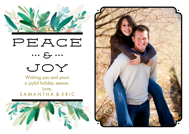 Christmas Photo Cards Set of 20, Premium 5x7 Foil Card, Card & Stationery -Peace & Joy Leafy Branches by Hallmark