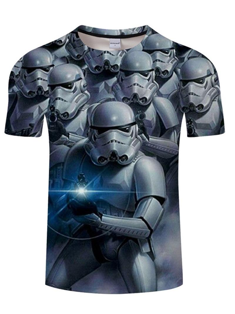 Ericdress Round Neck Print Casual Loose Short Sleeve Men's T-shirt