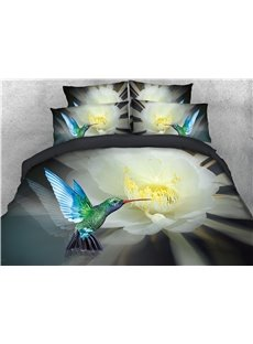 3D Sharp Mouth Bird and Flower Printed Cotton 4-Piece Bedding Sets/Duvet Covers