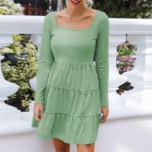 Square Neck Tiered Hem Solid Dress