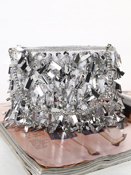 Milanoo Silver Clutch Bags Wedding Purse Sequins Bridal Evening Party Handbags