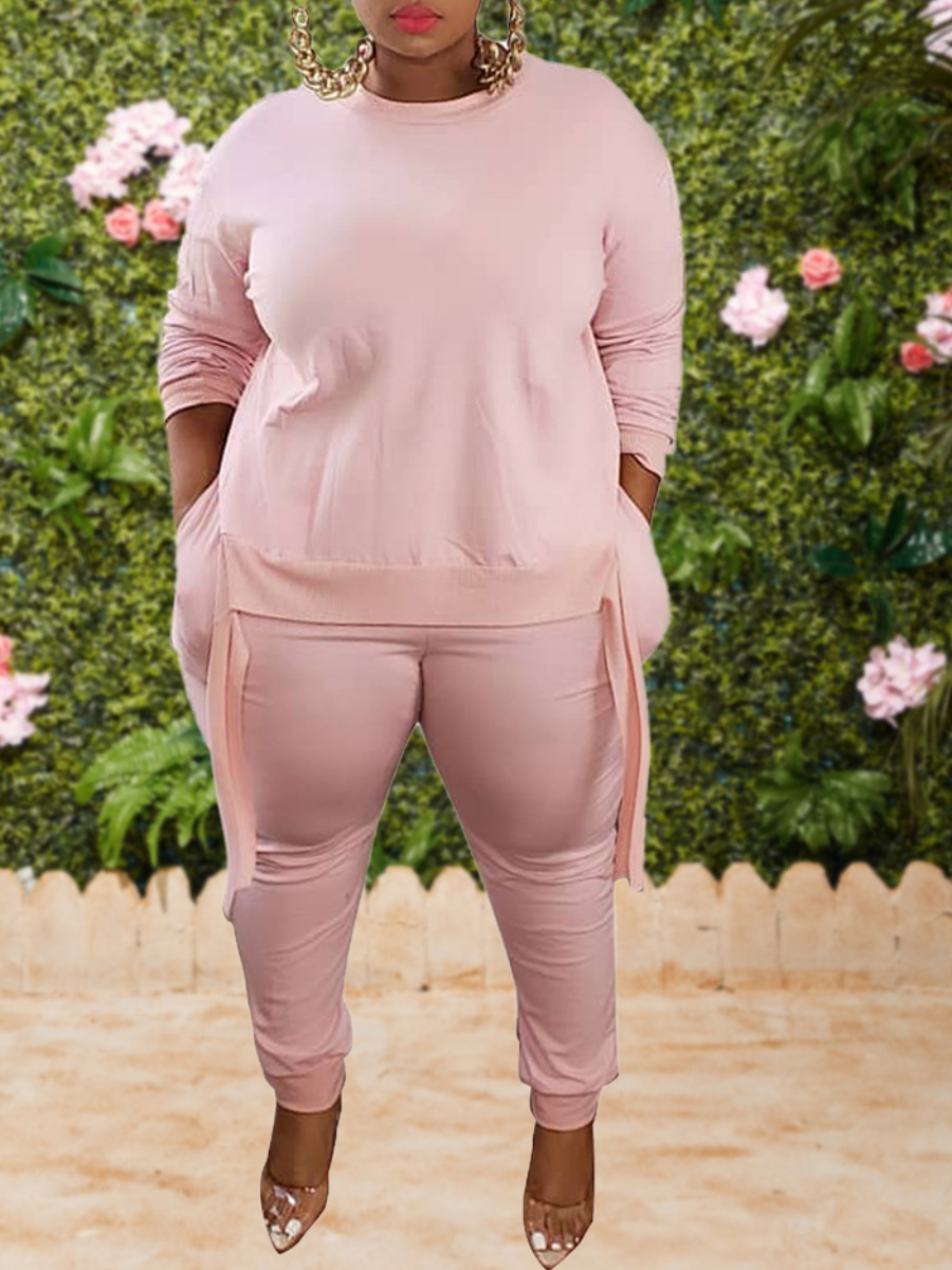 LW lovely Leisure O Neck Basic Pink Plus Size Two-piece Pants Set