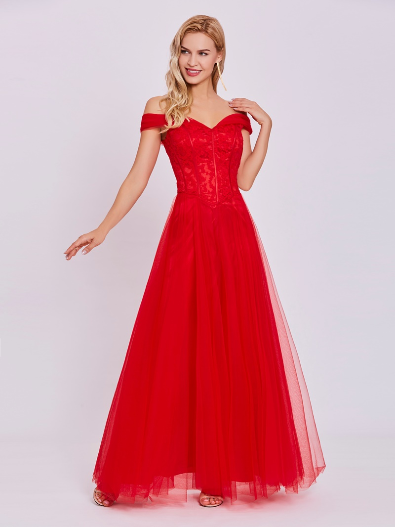 Ericdress Off-the-Shoulder Lace A Line Evening Dress