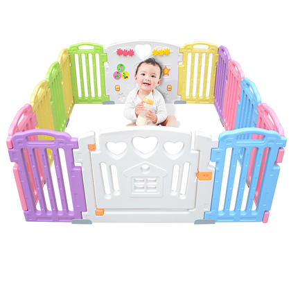 Baby Playpen Kids 14 Panel Activity Centre Safety Play Yard For Home Indoor Outdoor - LIVINGbasics™