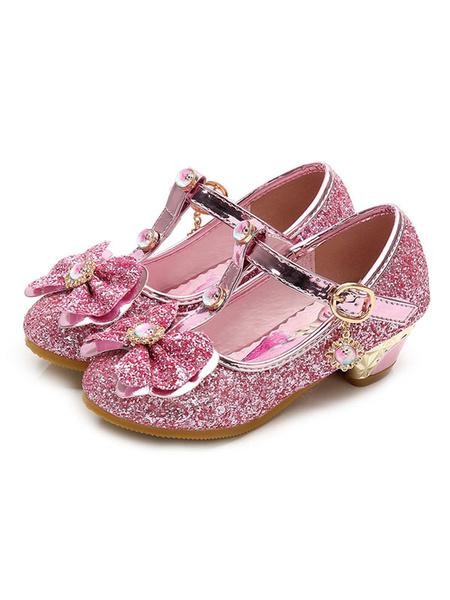 Milanoo Zapatos de fiesta para niños Glitter Punta redonda Arco Tipo T Hebilla Detalle Zapatos de niña de flores