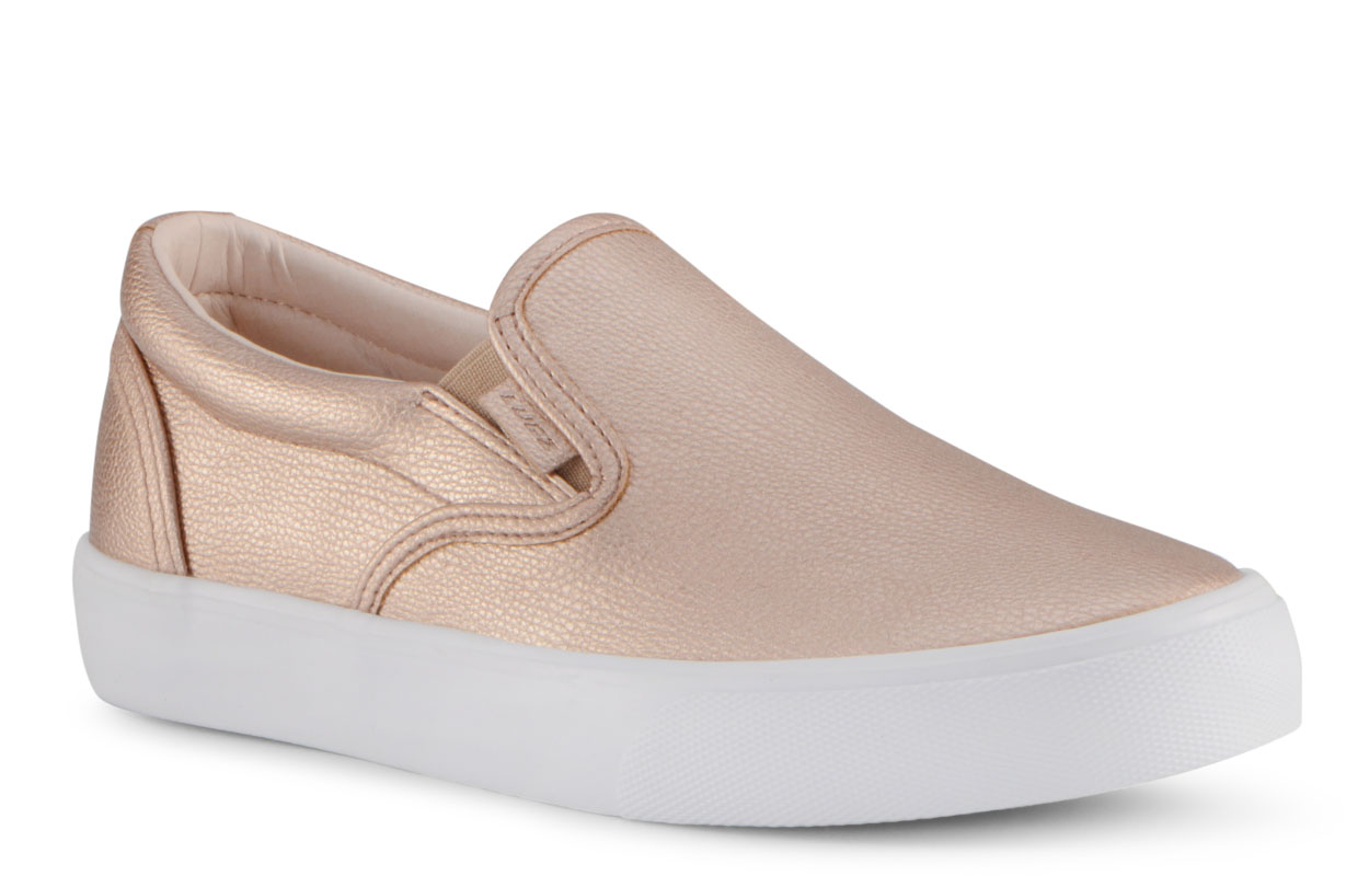 Women's Clipper Lx Slip-On Sneaker (Choose Your Color: ROSE GOLD/WHITE, Choose Your Size: 8.0)