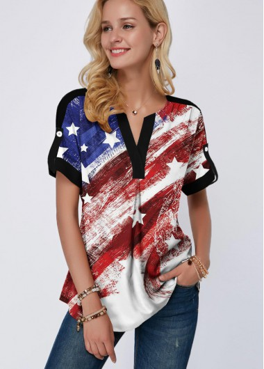 4Th Of July Women'S White Star Print Patriotic Short Sleeve Split Neck Blouse American Flag Day Tunic Casual Top By Rosewe - 18