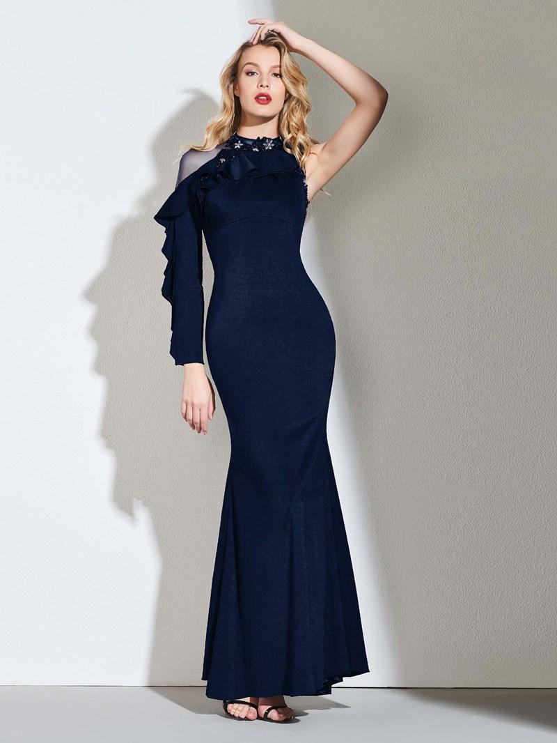 Ericdress Beaded One Shoulder Mermaid Evening Dress
