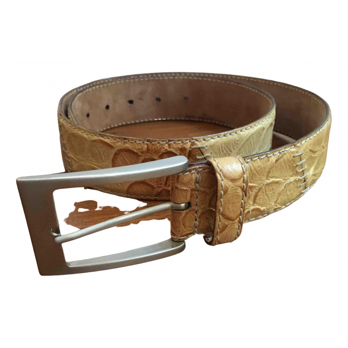 Non Signé / Unsigned \N Beige Leather belt for Men 85 cm